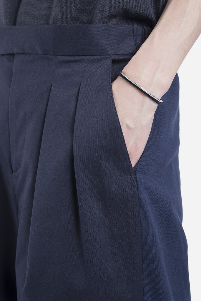 Downey Wide Pleated Trousers Dark Navy