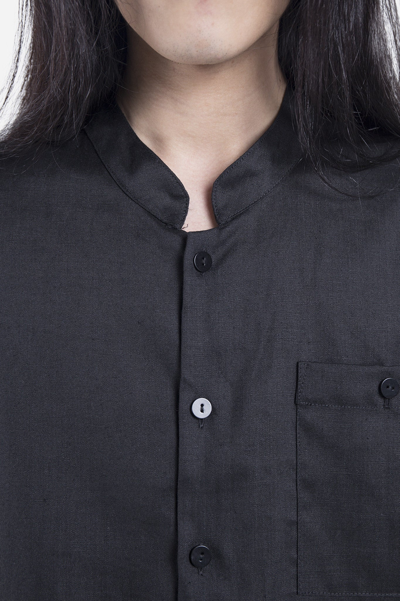 Linen Shirt Jacket Black