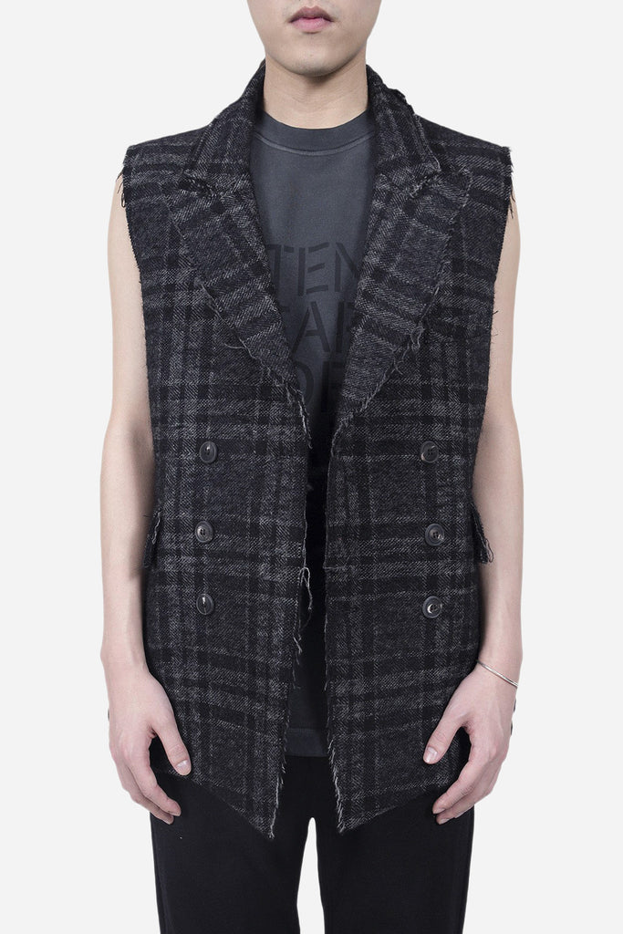 Double Breasted Vest Checkered