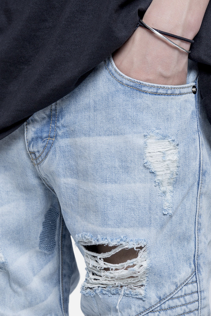 Distressed Repaird Denim Indigo