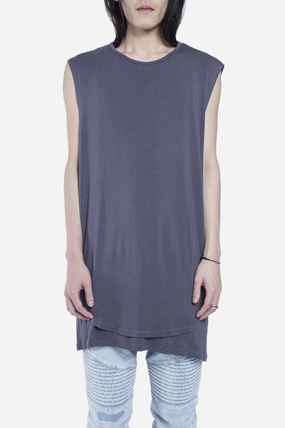 Stampd - Double Layer Scallop Muscle Tee Charcoal