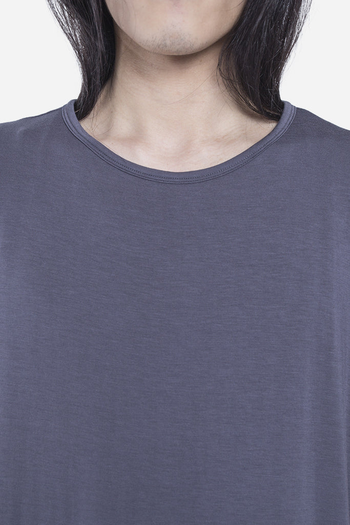 Double Layer Scallop Muscle Tee Charcoal