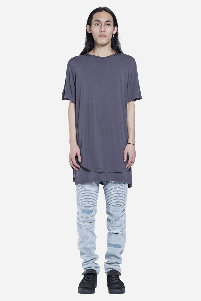 Double Layer Scallop Tee Charcoal