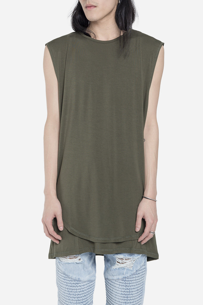 Double Layer Scallop Muscle Tee Olive