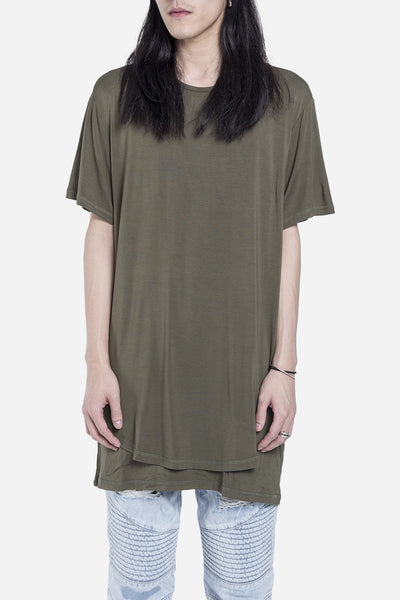 Stampd - Double Layer Scallop Tee Olive