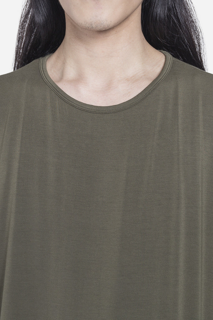 Double Layer Scallop Tee Olive