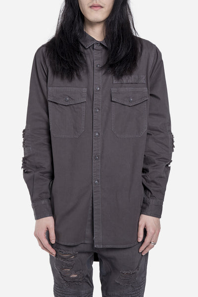 Stampd - REPAIRED DENIM SHIRT CONCRETE