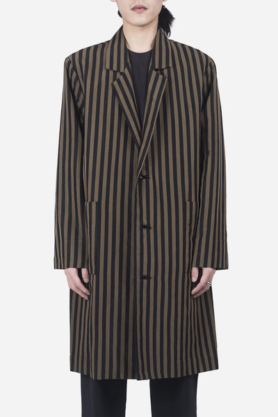 Second / Layer - 3 Button Stripe Long Coat Brown