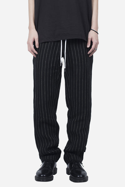 Second / Layer - ELASTIC WAIST STRIPE TROUSER BLACK