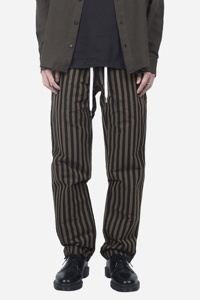 Second / Layer - ELASTIC WAIST STRIPE TROUSER BROWN