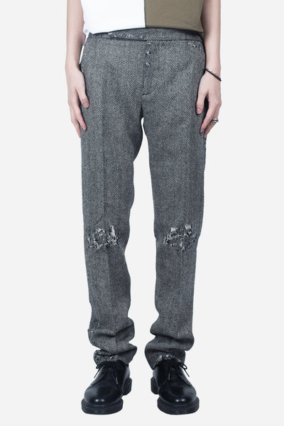 palm angels - Skinny Herringbone Trousers Grey