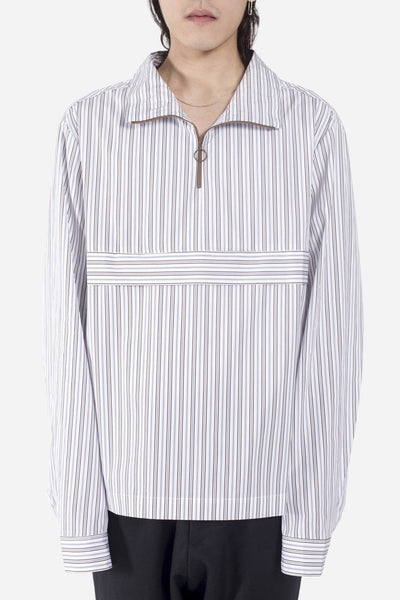 CMMN SWDN - Ron Pop Over Shirt White/Brown Stripe