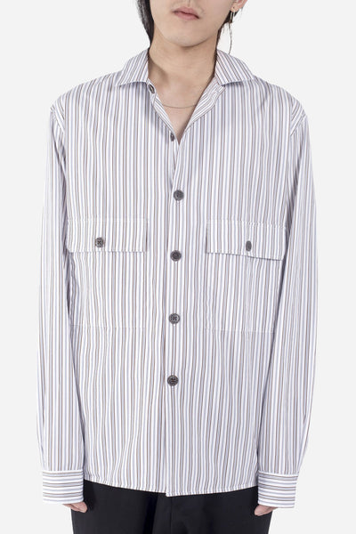 CMMN SWDN - Levy Shirt Jacket White/Brown Stripe