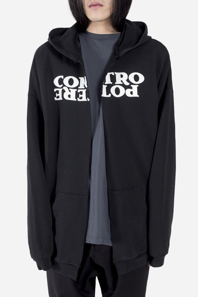 Komakino - Oversized Face Hoodie w/ Cut Black