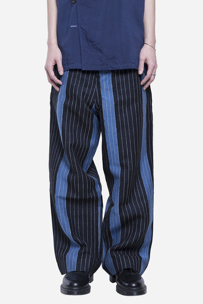 Agi & Sam - School Wide Leg Trouser Weaved Stripe