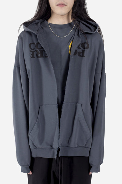 Komakino - Oversized Face Hoodie w/ Cut Grey