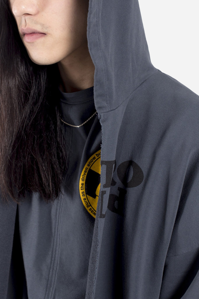 Oversized Face Hoodie w/ Cut Grey