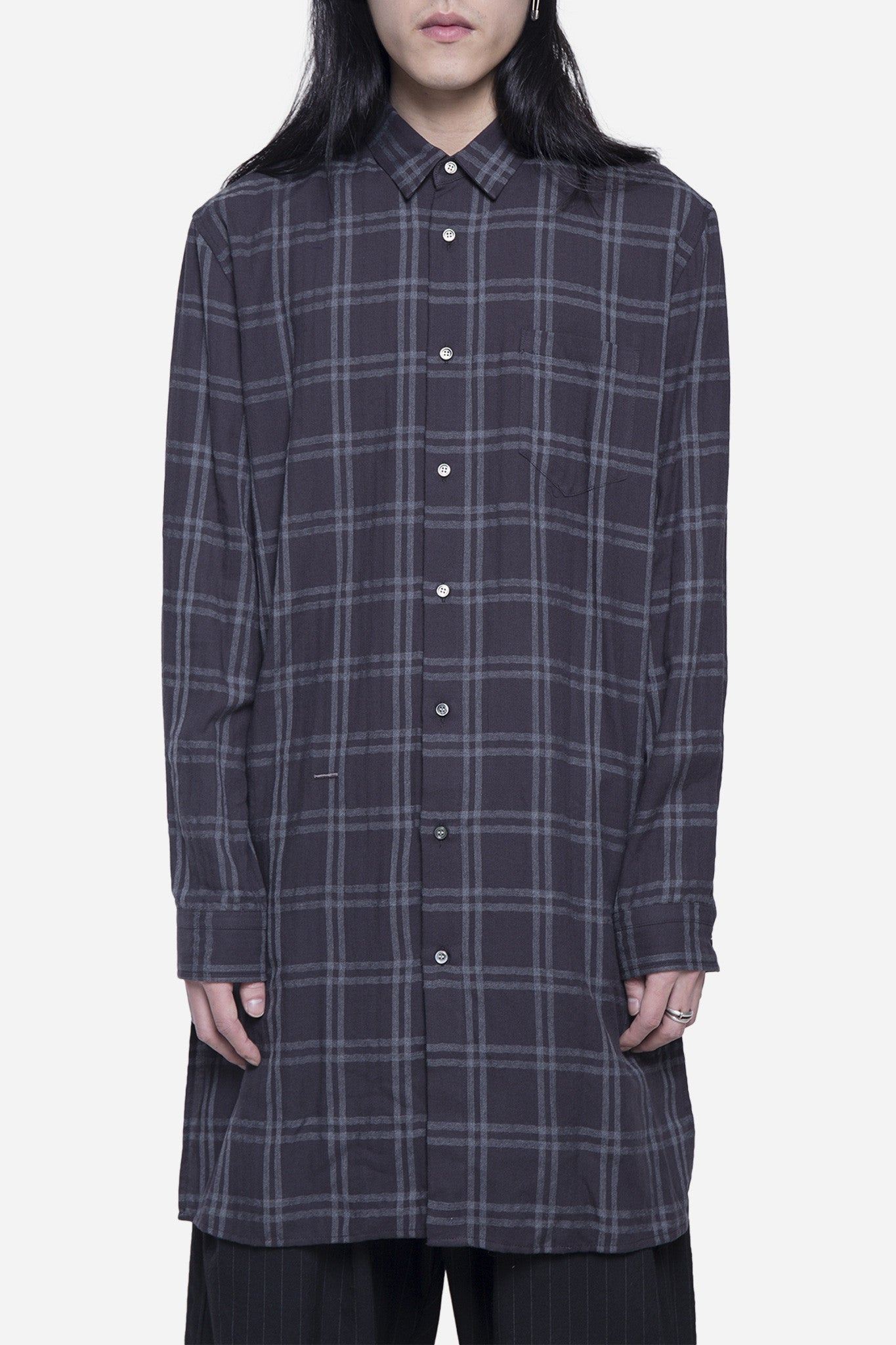 Long Checkered Shirt Charcoal