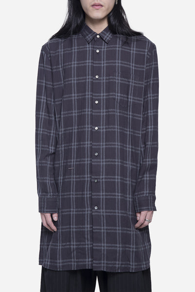 robert geller - Long Checkered Shirt Charcoal