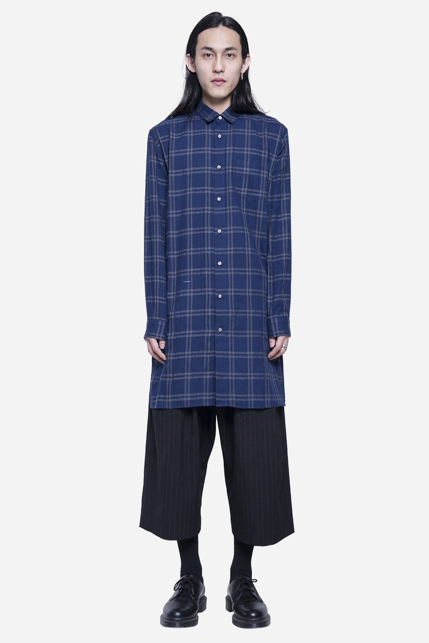 Long Checkered Shirt Navy