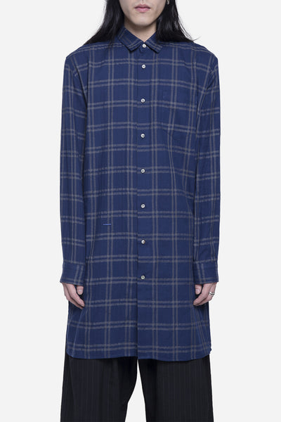 robert geller - Long Checkered Shirt Navy