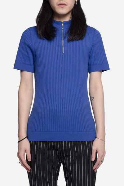 CMMN SWDN - Woody Knitted Zip Sweater Ocean Blue