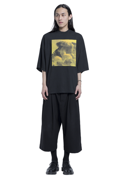 Patched Oversized Jersey Tee Black