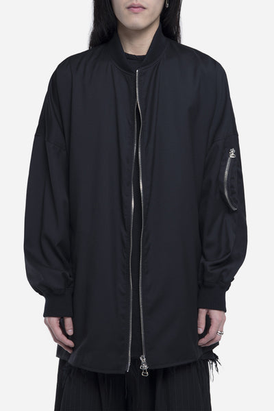 Komakino - Oversized MA-1 Wool Jacket Black
