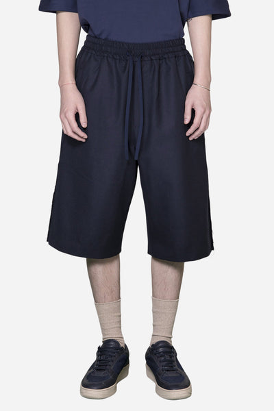 Ne.Sense - Wool Raw Split Bball Long Shorts Nightfall Navy