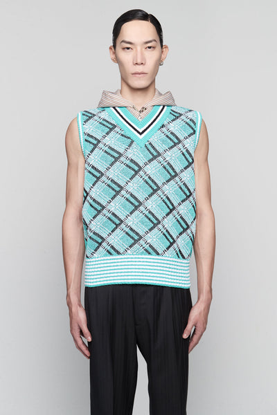 Maison Margiela - Sleeveless Knit Vest Turquoise/white/black