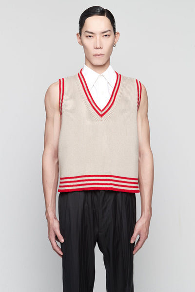 Maison Margiela - Sleeveless Knit Vest Beige + Stripes Red