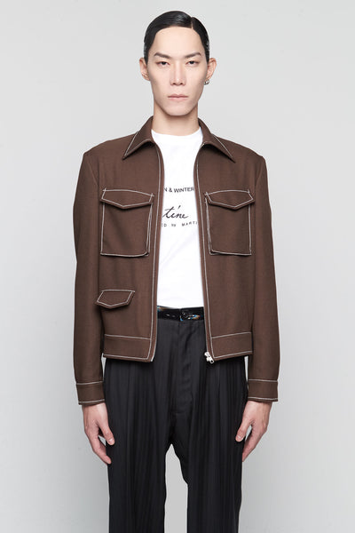 Maison Margiela - Short Sports Jacket Chocolate / White stitching