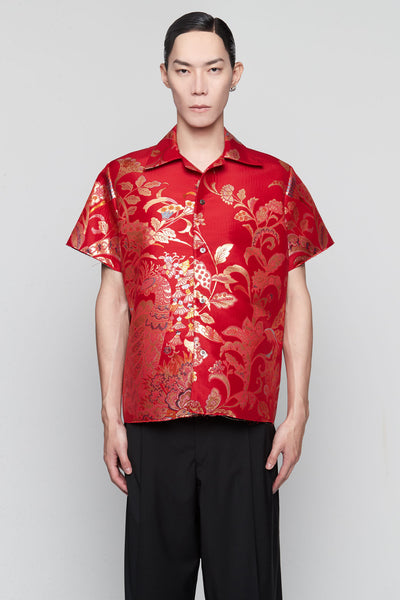Maison Margiela - Kimono Jacquard Worker Shirt Red/Gold