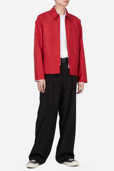 Red Suiting Zip Up Jacket