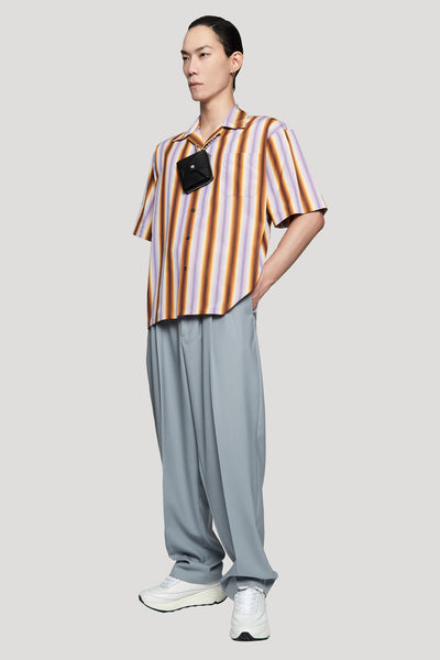 Degrade Stripe S/S Shirt Lilac/Brown