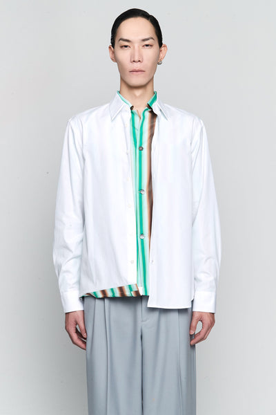 Marni - Double Layer Shirt White Brown Green Stripes