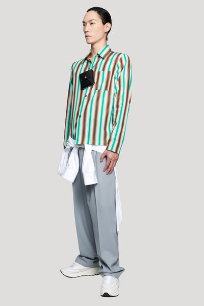 Double Layer Shirt White Brown Green Stripes
