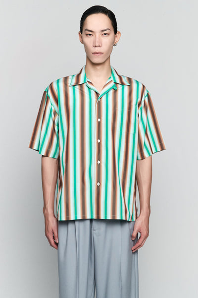 Marni - Degrade Stripe S/S Shirt Green/Brown