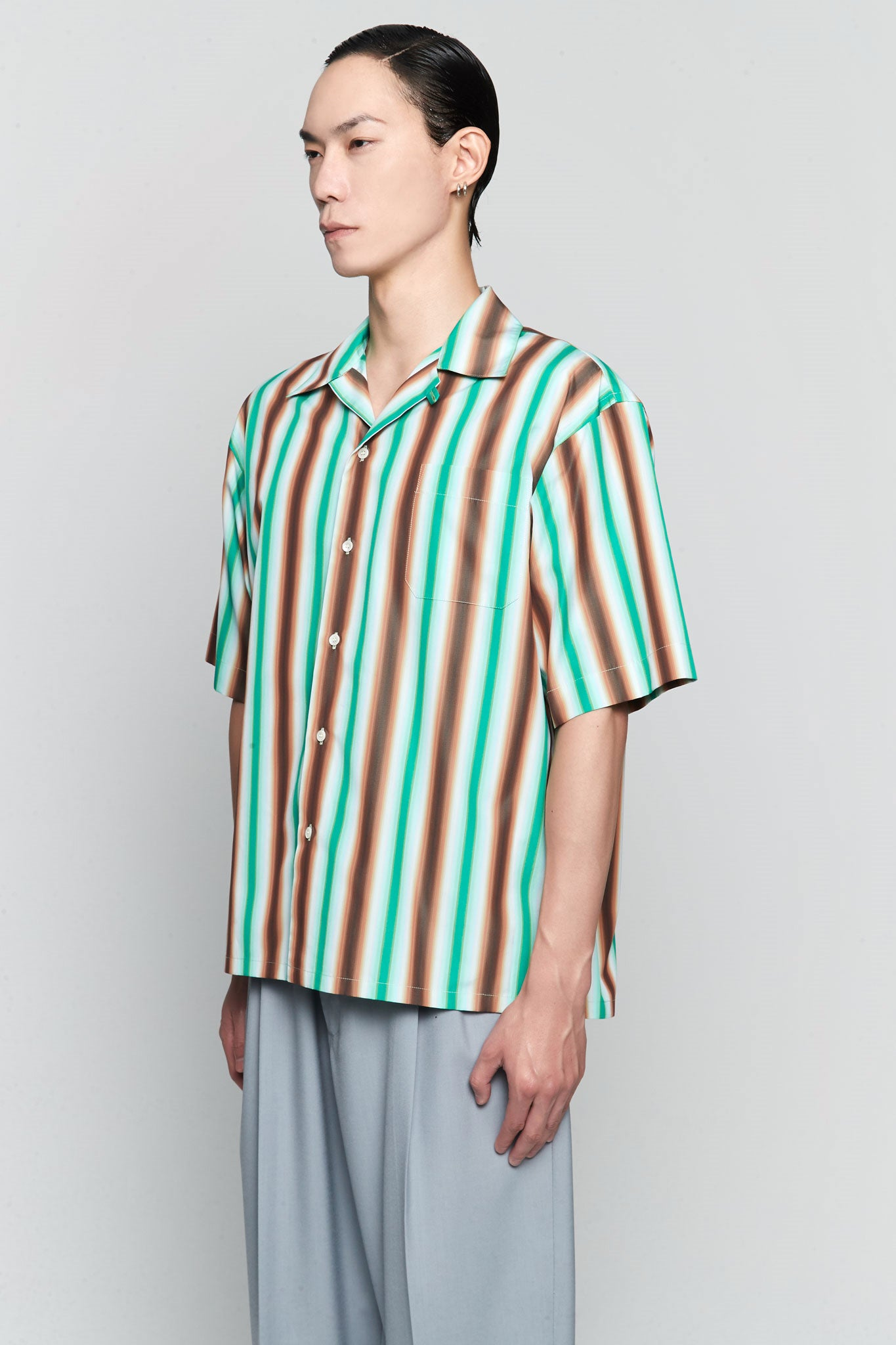 Degrade Stripe S/S Shirt Green/Brown