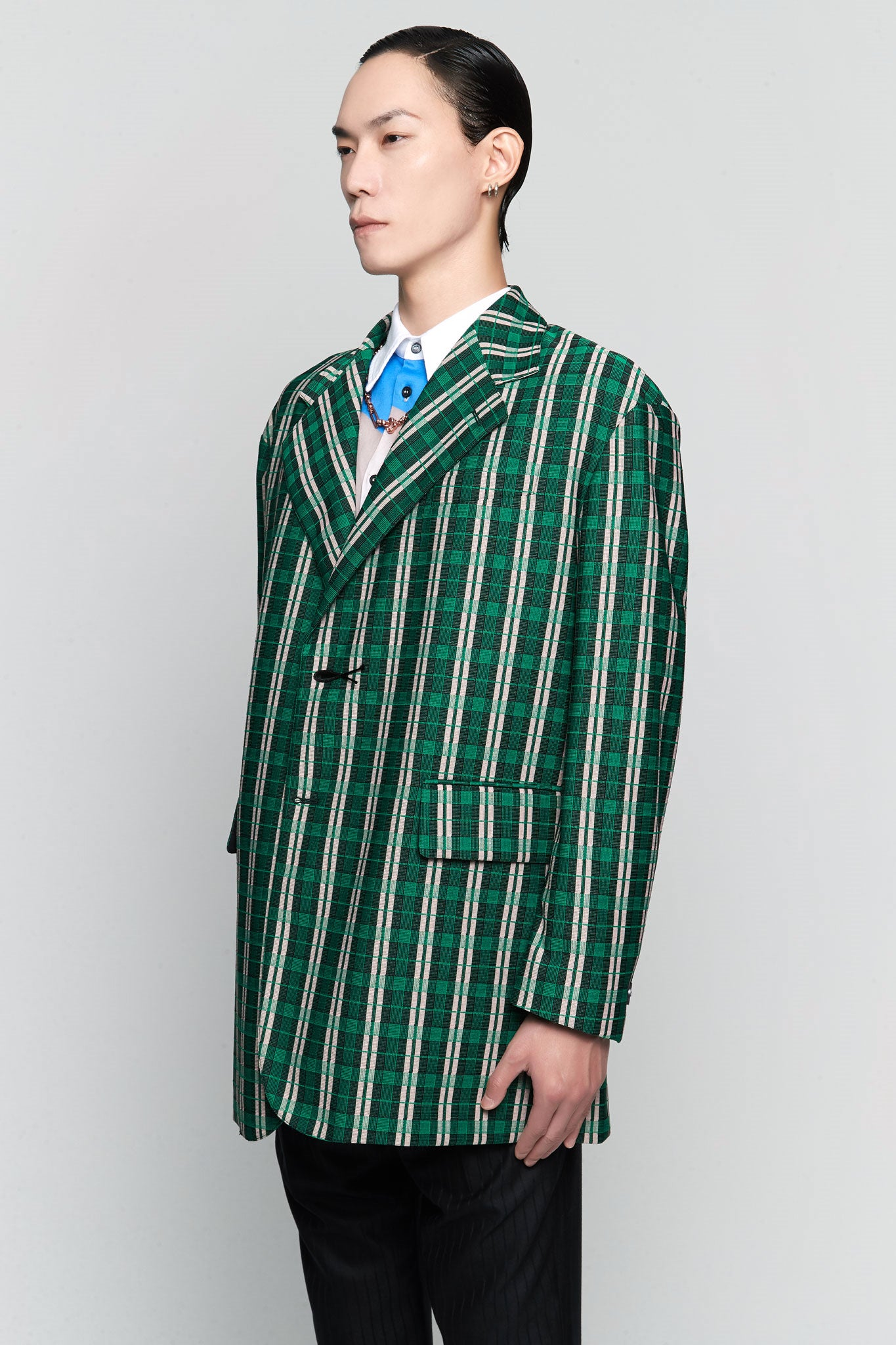 Techno Check Jersey Oversized Suit Green Check