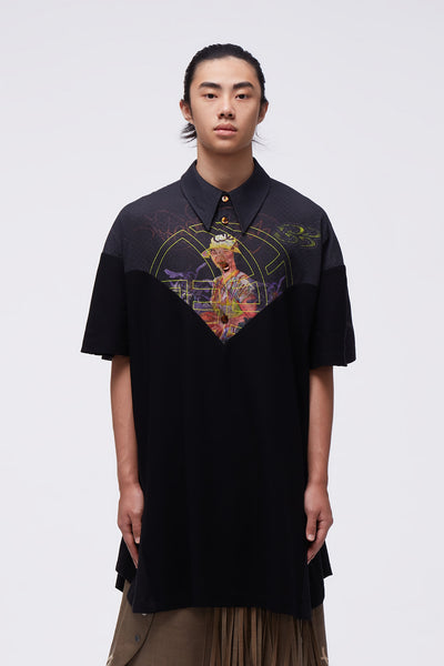 NAMESAKE - Husk Mix Media Oversized Polo Shirt Black