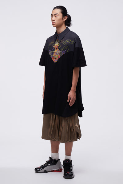 Husk Mix Media Oversized Polo Shirt Black