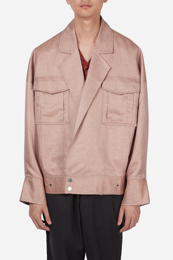 Penn Notch Lapel Denim Jacket Coral Silk