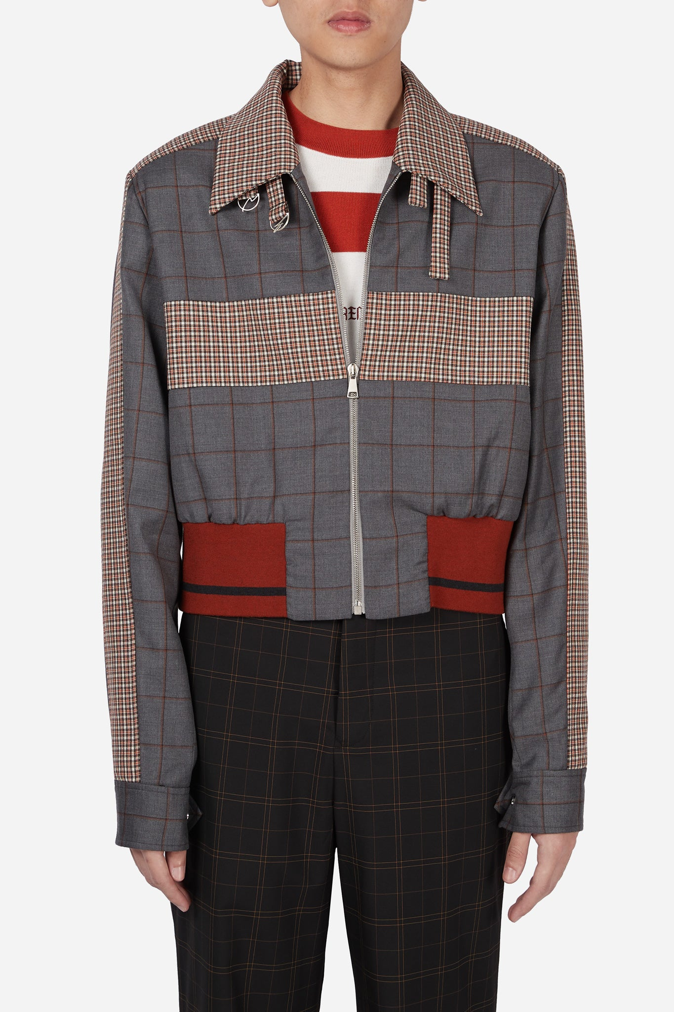 Manchester Rib Coach Jacket Silver Rust Shadow Grid + Rust Gingham Check