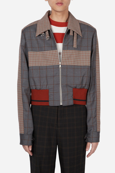 Pressured Paradise - Manchester Rib Coach Jacket Silver Rust Shadow Grid + Rust Gingham Check