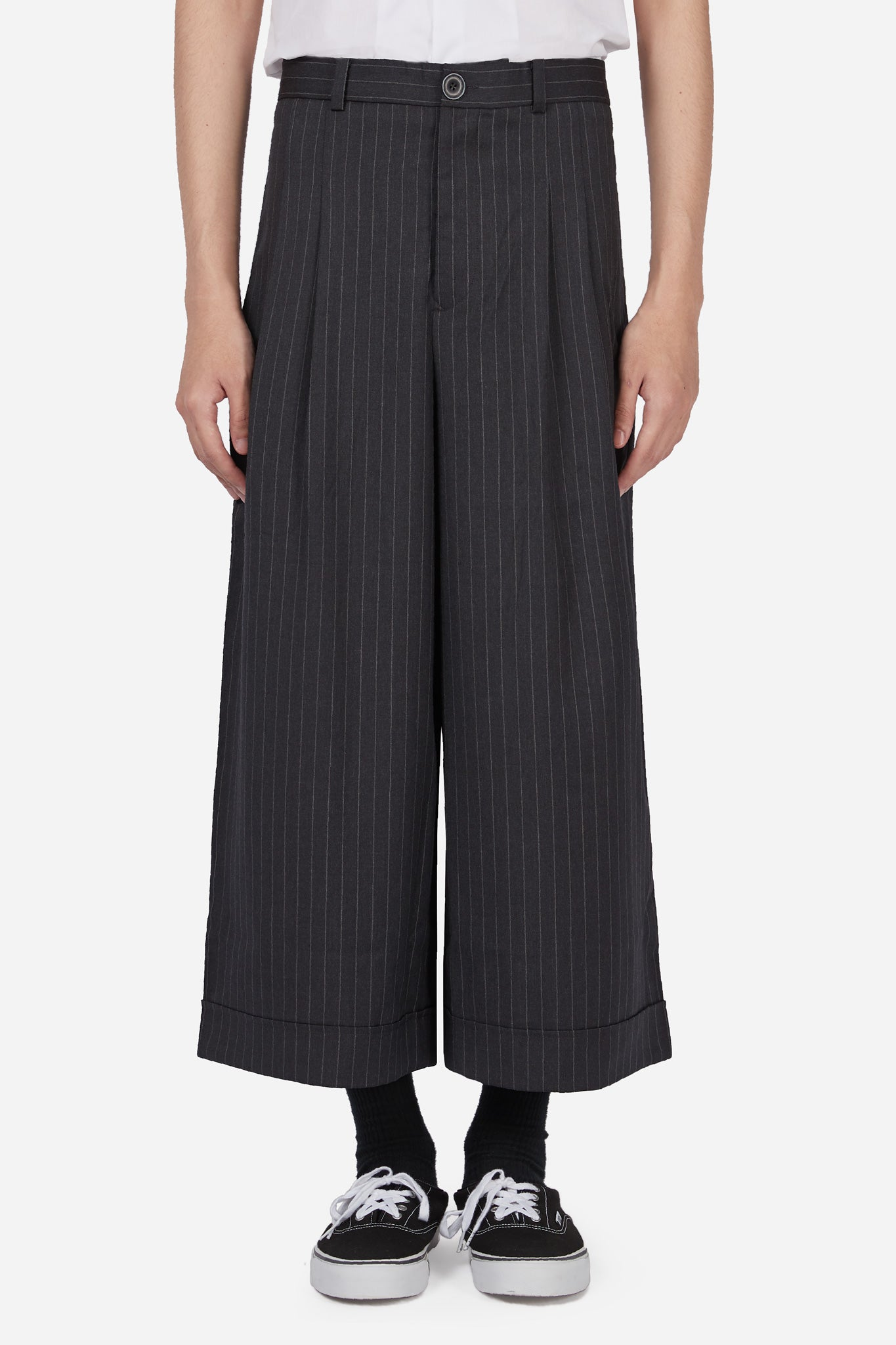 Sail Pleated Cropped Trouser Silver Pinstripe