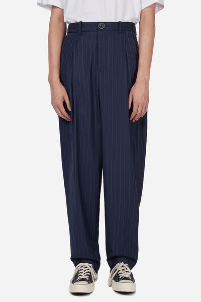 Pressured Paradise - Dan Wide Leg Carrot Trouser Navy Lake Pinstripe