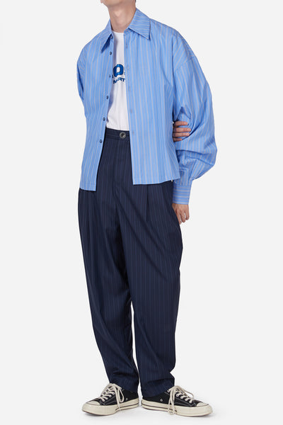 Dan Wide Leg Carrot Trouser Navy Lake Pinstripe