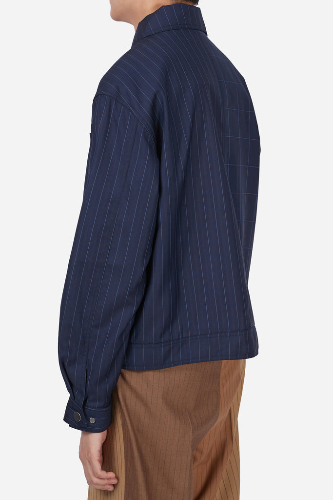 Lou Contrast Belt Jacket Loro Navy Grid + Loro Navy Stripe