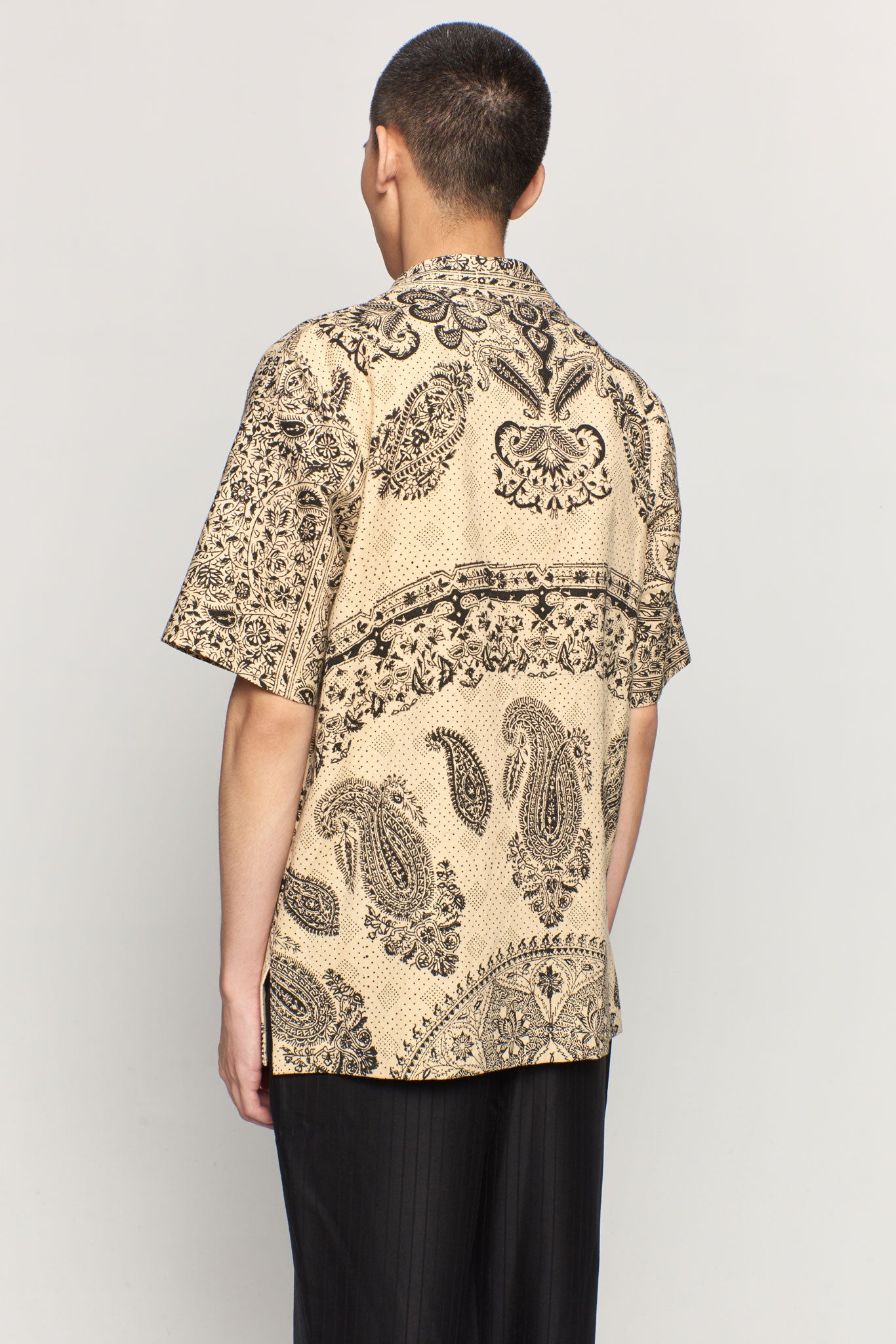 Monochrome Print Hawaiian Shirt